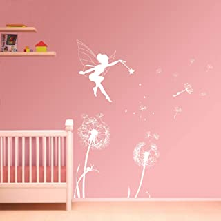 ufengke Dandelion Fairy Wall Stickers Removable Vinyl Wall Art Decals Mural Wall Decor for Girls Bedroom Nursery