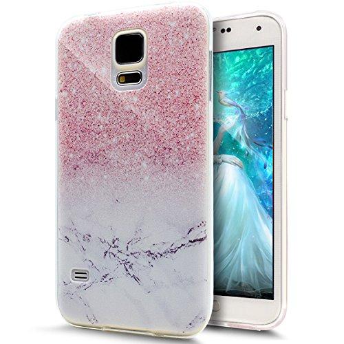 ikasus Kompatibel mit Galaxy S5 Mini Hülle,Galaxy S5 Mini Schutzhülle,Gemalt Kunst Malerei Handyhülle Silikon TPU Silikon Hülle Handyhülle Tasche Durchsichtig Schutzhülle Mini,Rosa Marmor Marble