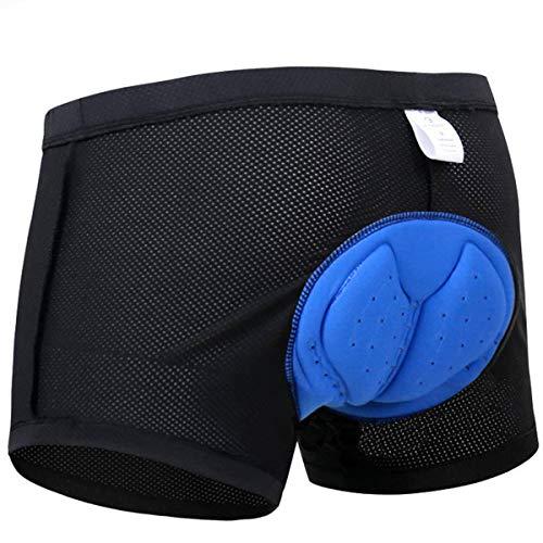 X-TIGER Hombres Ropa Interior de Bicicleta con 3D Gel Acolchado MTB Ciclismo Pantalones Cortos,Color Negro con Azul,XXL