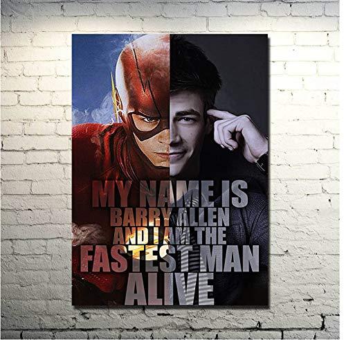yuyu-beautiful The Flash Movie Poster Serie TV Poster E Stampe Poster su Tela Wall Art E Stampe su Tela Dipinti Murali Quadri per Arredamento Casa 50X70Cm Senza Cornice