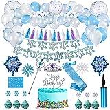 FORMIZON Decoración de Cumpleaños para Niña, Decoraciones Fiesta Cumpleaños Pastel, Fiesta de Cumpleaños con Pancarta de Feliz Cumpleaños para Niñas Frozen Cumpleaños Fiesta Suministros (A)
