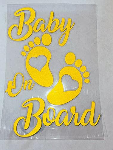 Adesivo per auto Baby on Board Baby in Car Baby in Auto 17 x 12 cm Finest Folia, resistente ai raggi UV, impermeabile, Hangover Ragazzo e Ragazza, colore: giallo