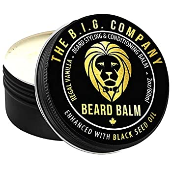 Beard Balm for Men - The B.I.G Company - Beard Moisturizer & Conditioner with Beeswax for Medium Hold Styling Ease - Black Seed Oil & Argan Oil Supports Beard Growth [Classy Regal Vanilla Scent]