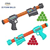 Product Image of the Funew 2 Pack Power Popper Gun,Fighting Grey and Sky Blue,22 Foam Balls,Including...