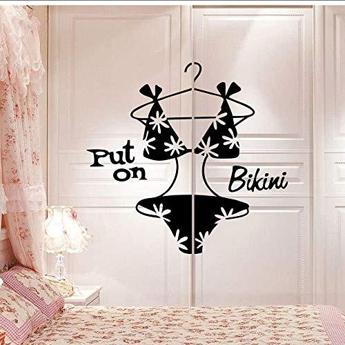 Muursticker bikini slaapkamer kledingkast decoratieve muursticker Home Store afneembare zwarte ondergoed sticker vinyl muurschildering op bikini zetten