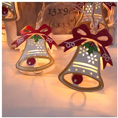 tairong Luces de Hadas de Campana de Navidad pintadas con LED, 1,5 m 10 Luces de Hadas de Campana de Navidad pintadas con LED Luces de Cadena con Pilas Luces Decorativas para Interiores y Exteriores