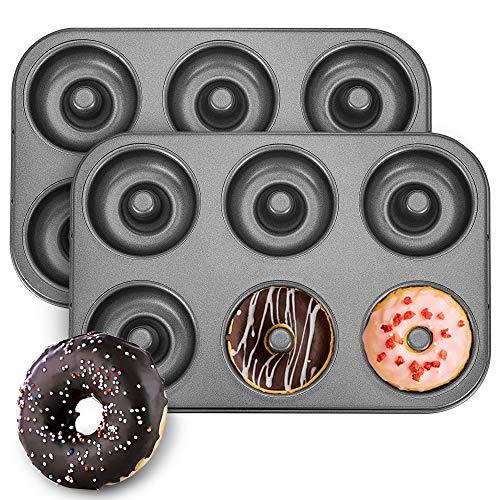 Donut Pan for Baking, 2 Pcs BPA Free Carbon Steel Nonstick Baking Sheets, Dishwasher Safe, 6-Cavity