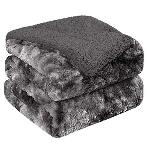 PiccoCasa Shaggy Faux Fur Blanket Twin Size - Soft Warm Reversible Tie-dye Sherpa Throw Blanket for Sofa, Couch and Bed - Plush Fluffy Fleece Blankets as Gifts 60 x 80 Inch Dark Gray