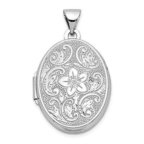 14ct Weißgold 21 mm Ovales Medaillon Schmetterling Blumen Bordüre - JewelryWeb