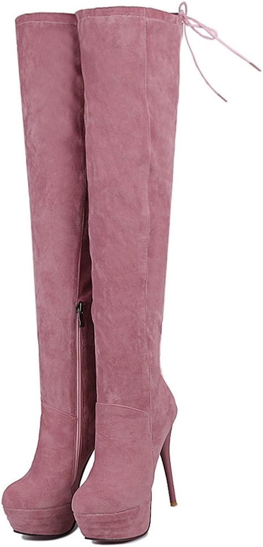 Fashion Heel Women's Stiletto High Heel Round Toe Platform Lace Up Thigh High Boot