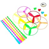 HJ Dragonfly Toy Plastic Twisty Flying Saucers Spinning Shooter Flying Disc Toys for Children - Package of 20 COLORS MAY VARY