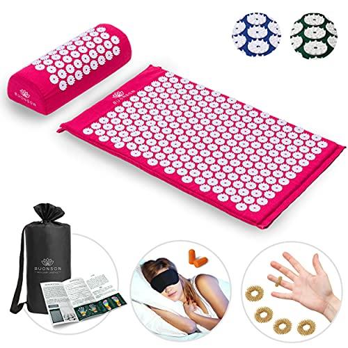 BUONSON Akupressur-Set 2021 mit FREI 5 Akupressur Ring + Tasche + Poster Akupressurmatte zur Entspannung von Rücken, Kopf, Nacken Akupunkturmatte (Rosa)