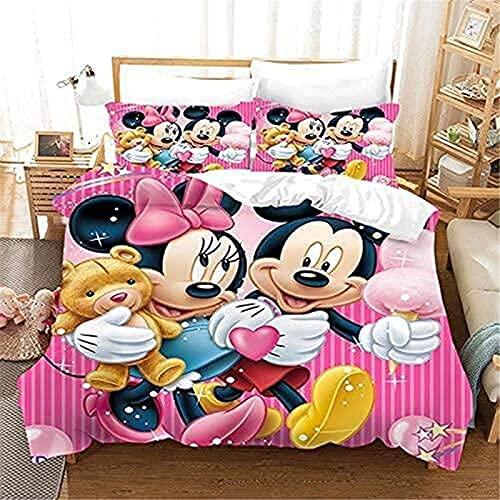 Proxiceen Disney Mickey Mouse - Juego de ropa de cama y funda de almohada (100% microfibra, tamaño king de 220 x 240 cm), diseño de Minnie Mouse