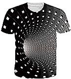 uideazone 3D Digital Unisex Camisetas de Manga Corta Casual Hipster Camisas Deportivas Sport Graphics tee para Hombres (Cool Swirl, XXL)