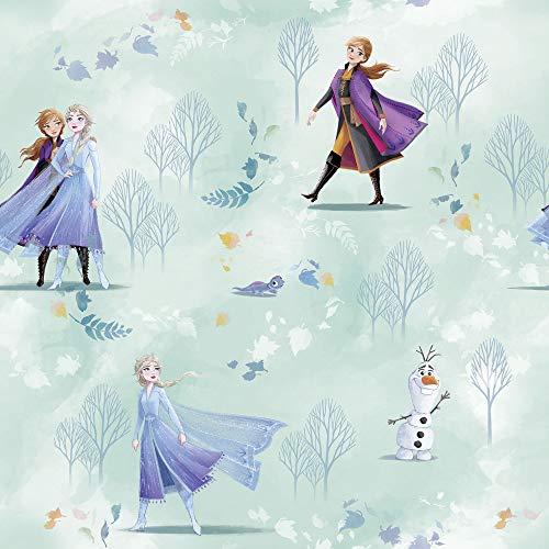 Disney Vlies Tapete von Komar - Frozen Fresh Breeze - 1 Rolle - Größe: 10,05 x 0,53 m - Kinderzimmer, Eiskönigin, Anna, Elsa, Prinzessin