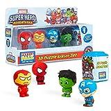 Marvel Figuras para Niños, Pack 5 Muñecos Iron Man Spiderman Capitan America y Hulk, Gomas de Borrar Coleccionables, Regalos Originales para Niños Edad 3+