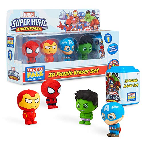 Marvel Avengers Personaggi, Set da 5 Action Figure da Collezione per Bambino, Minifigure di Iron Man, Capitan America, Hulk, Spiderman + Sorpresa, Gomma da Cancellare dei Super Eroi