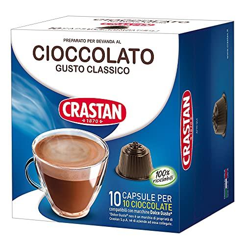 Crastan Capsule Compatibili Dolce Gusto, Cioccolato, 10 Confezioni da 10 Capsule, 100 Unità