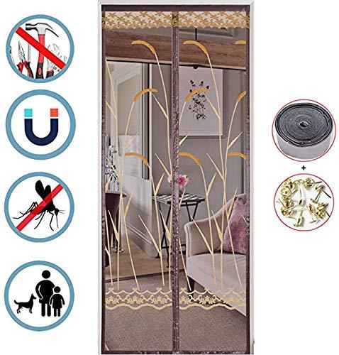 Elektromagnetische afscherming vliegengaas, mesh-gordijn, magnetische deur, Keep Away Mosquitoes Insect Bugs, Let Fresh Air in, geen gereedschap nodig, voor balkon, schuifdeur woonkamer, A, 105 x 205 cm