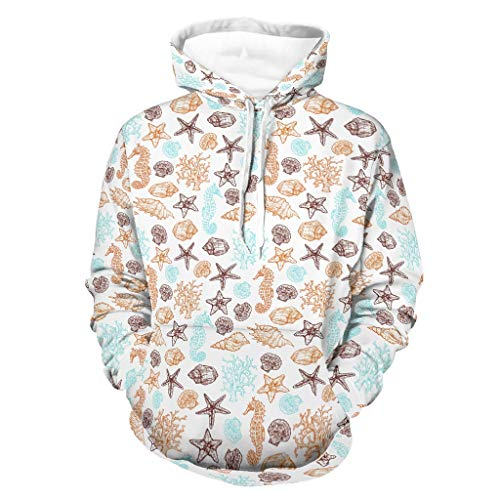 Shinelly Sudadera con capucha para hombre, diseño de conchas, caballo, estrella de mar, coral, multicolor, manga larga, con bolsillos, para disfraz blanco XXL