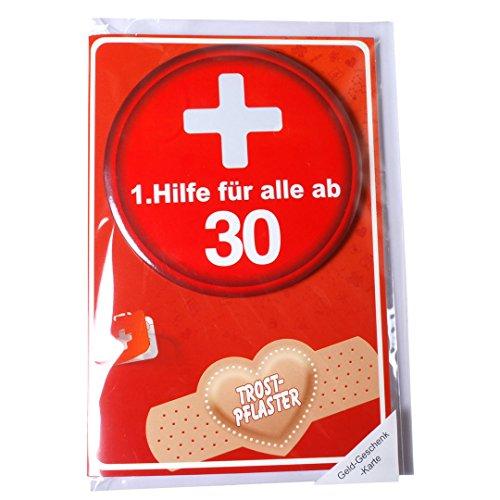 Preis am Stiel 1 x Geburtstagskarte m.Button 1.Hilfe 30
