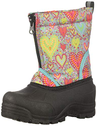 Northside Girls' Icicle Snow Boot, Gray/Multi, 5 Medium US Little Kid