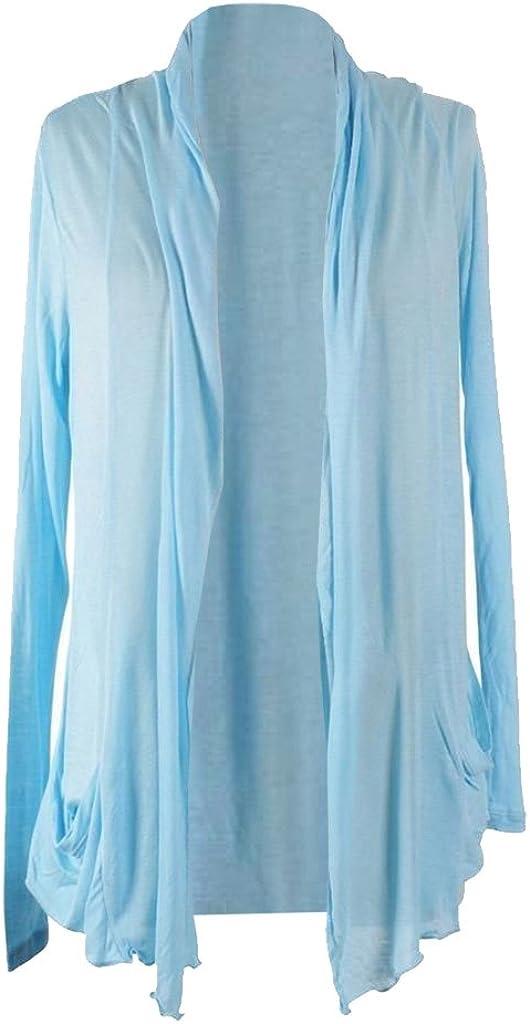 Women's Long Sleeve Thin Flyaway Open Drape Side Pockets Shawl Collar Cardigan