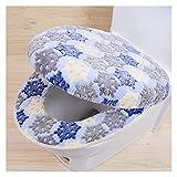 Fashion SHOP Funda Asiento Inodoro Cojín Cálido de Dos Piezas de Dos Piezas con Cremallera Cubierta de Inodoro con Cremallera Seat Coral Fleece Set para Suministros de baño WC (Color : Blue)