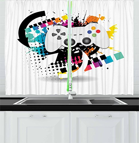 """Lunarable Gamer Kitchen Curtains, Modern Console Game Controller with Halftone Motif and Color Splashes Background, Window Drapes 2 Panel Set for Kitchen Cafe Decor, 55"""" X 39"""", Grey California"""