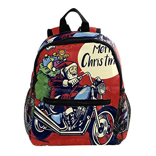 Mochila preescolar para niños y niñas con correa en el pecho, diseño de flores rojas Regalo de Papá Noel rojo. 25.4x10x30 CM/10x4x12 in