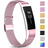 Meliya Replacement Metal Bands Compatible with Fitbit Alta/Fitbit Alta HR, Stainless Steel Metal Replacement Wristbands for Women Men (Small, 05 Rose Pink)