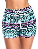 SHEKINI Mujer Pantalones Cortos de Playa para Mujer Dibujar Pantalones Cortos de Cuerda Bañadores Impresos (Textura Geometría Patrón, L)