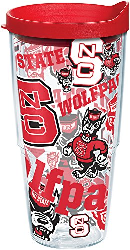 Tervis NC State Wolfpack All Over Insulated Tumbler with Wrap and Red Lid, 24oz, Clear