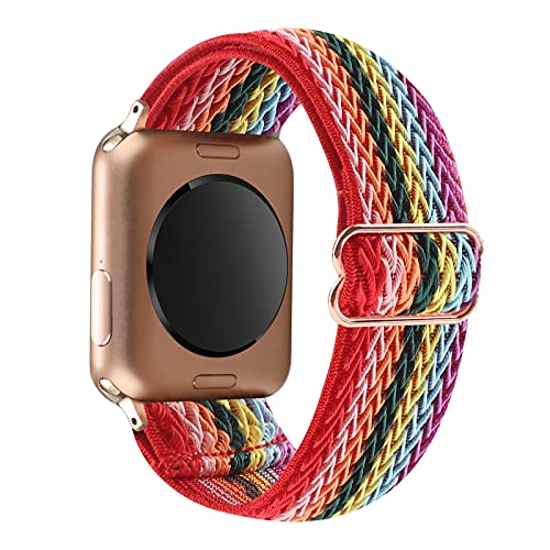 YOSWAN Stretchy Solo Loop Strap Compatible with Apple Watch Bands 38mm 40mm, Adjustable Soft Nylon Stretch Sport Elastics Women Men Wristband for iWatch Series 6/5/4/3/2/1 SE (Rainbow, 38mm/40mm)