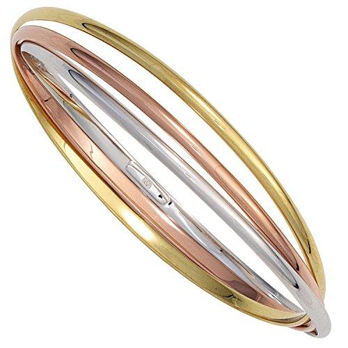 JOBO Damen-Armreif aus 925 Silber Tricolor vergoldet
