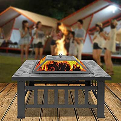 FASD Fire Pit ,Heater Fireplace Fire Table Bowl With Poker,Outdoor Metal Brazier Square Table Chiminea Garden Patio Heater/BBQ/Ice Pit from FASD