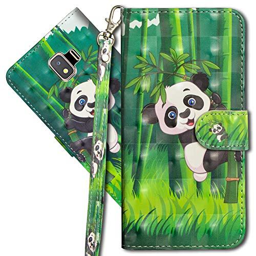 MRSTER J2 Core Handytasche, Leder Schutzhülle Brieftasche Hülle Flip Hülle 3D Muster Cover mit Kartenfach Magnet Tasche Handyhüllen für Samsung Galaxy J2 Core 2018. YX 3D - Panda Bamboo