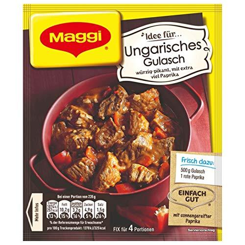 Maggi Fix für Ungarisches Gulasch Sauce für würzig-deftiges Gulasch (10 x 56g)