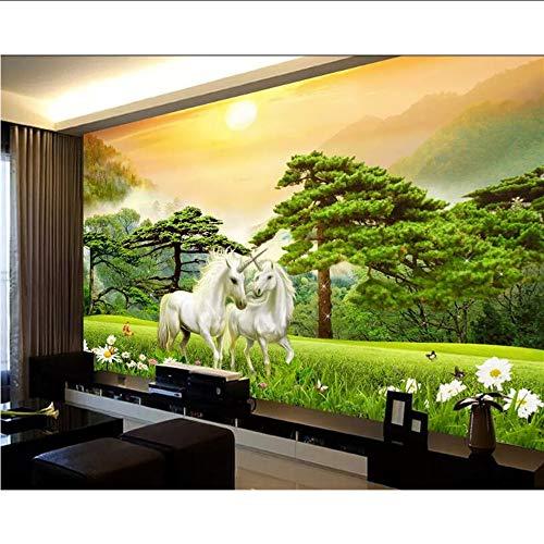 Lifme Personnalisé Fond D'Écran 3D Hd Soie Forêt Blanc Cheval De Cheval En Pont 2 Photo Licornes Peinture Fond Mur 3D Papier Peint-250X175Cm