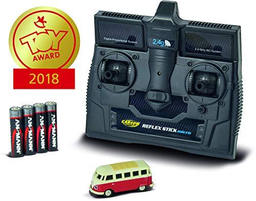 CARSON 500504119 - 1:87 VW T1 Samba Bus 2.4G 100% RTR, Fahrfertiges Modell, 2.4 GHz Fernsteuerung mit Ladeanschluss, inkl. 4xAAA Senderbatterien, mit LED Beleuchtung, Anleitung