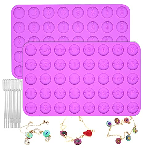 Anasido 2PCS Samll Letter Resin Molds, Silicone Mini Alphabet Molds for Epoxy Resin with 10pcs 1ML Resin Plastic Droppers for DIY Crafts, Jewelry, Bracelet, Necklace Decoration