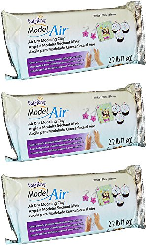 Sculpey Model Air White Dry Clay - New Formula - Lightweight, Durable - Ideal for Kids, Crafts, and Jewelry Projects - 2.2 Pounds, Pack of 3