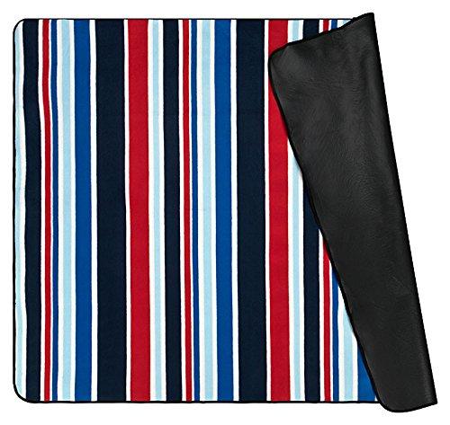 Picknickdecke gestreift wasserdicht Beschichtung Fleece Campingdecke Stranddecke