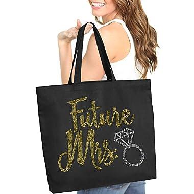 Future Mrs. Diamond Gold Rhinestud Tote Bag - Bridal Shower Gift & Accessories Bride Tote - Black