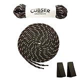 CUBSER 3 Paar extrem reißfeste Schnürsenkel – 5mm, rund, ideal für Wanderschuhe, Trekkingschuhe, Arbeitsschuhe und starke Beanspruchung, mit Schnürsenkel Fixator (180cm, Schwarz-Grau)