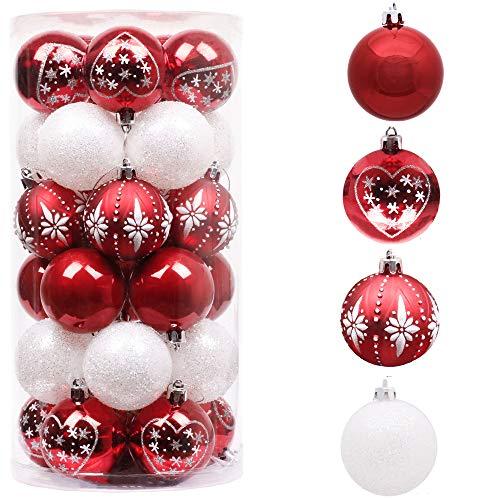 Valery Madelyn Weihnachtskugeln 30 Stücke 6CM Kunststoff Christbaumkugeln Weihnachtsdeko mit Aufhänger Weihnachtsbaumschmuck für Weihnachtsdekoration Traditionelles Thema Rot Weiß