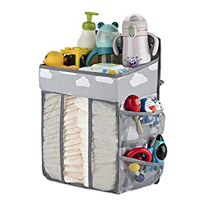 Diaper Organizer Hanging Diaper Caddy-Diaper Stacker for Changing Table,Crib, Playard or Wall,Diaper Holder Organizer Hanging,Baby Essentials Storage (Gray)