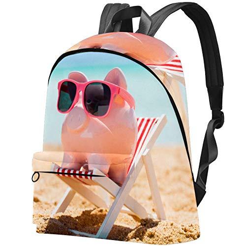 Studenten-Büchertasche für 39,62 cm (15,6 Zoll) Notebook Rucksack, Reisen, Tagesrucksack, College, Schulranzen, Sparschwein mit Sonnenbrille auf dem kleinen Liegestuhl am Strand