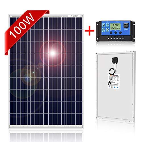 DOKIO Polykristallines Solarmodul 100w 12v mit Laderegler (2x USB-Port) Ideal für Garten, Balkon, Garagendach,Wohnmobil
