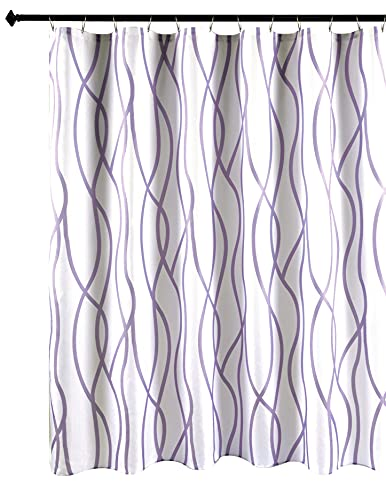 Biscaynebay Textured Fabric Shower Curtain, Printed Dancing Bathroom Curtains, Lavender 72 by 72 Inches